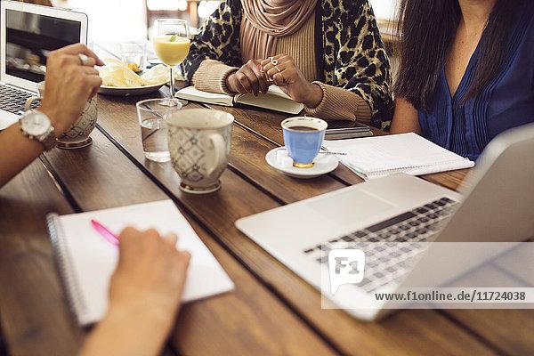 Businesswomen using laptop during lunch in restaurant
