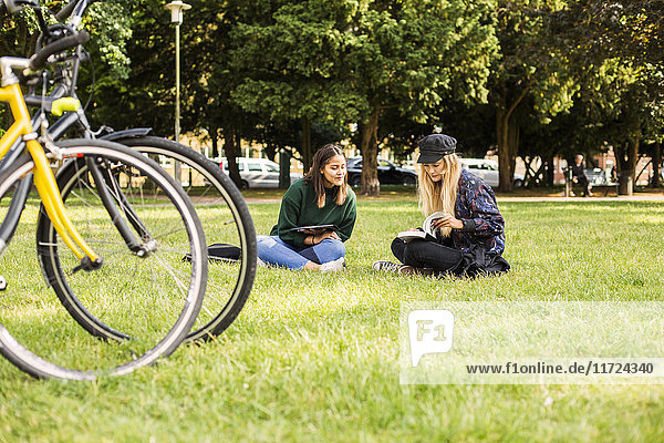 Two young women sitting in park  bicycle in foreground Two young women sitting in park, bicycle in foreground