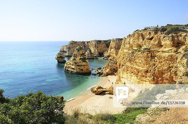 The coastal rock formations at Marinha beach (Praia da Marinha). Algarve  Portugal