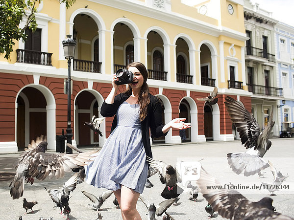 Puerto Rico  San Juan  woman on square among pigeons