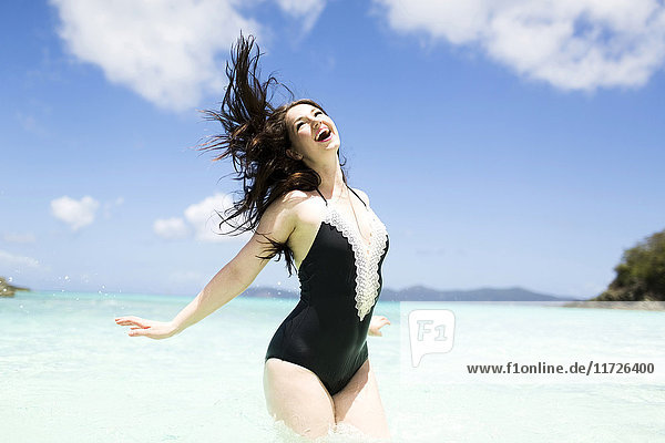 USA  Virgin Islands  Saint Thomas  Beautiful woman having fun on summer vacations