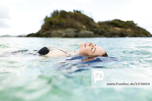 USA  Virgin Islands  Saint Thomas  Woman swimming in sea