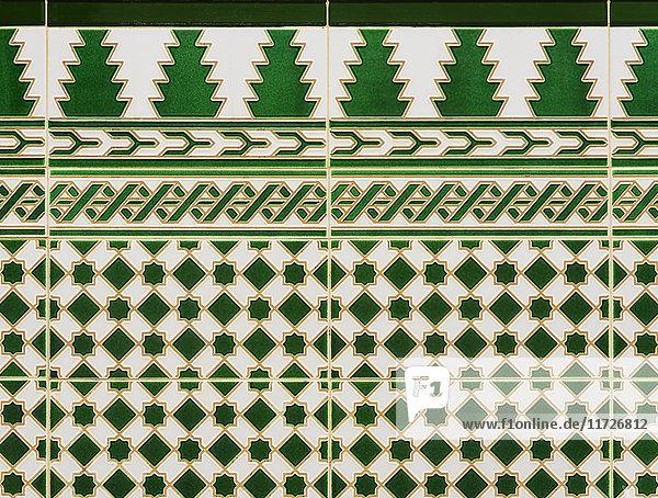 Cuba  Havana  Detail of green tiles