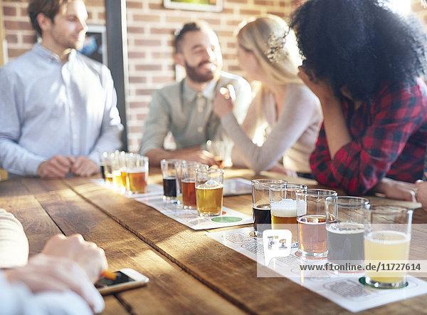 Freunde verkosten Bierproben in der Brauerei