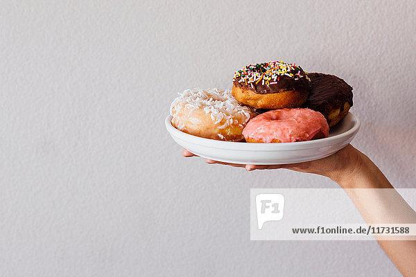 Weibliche Handhalteplatte mit Doughnut-Löchern