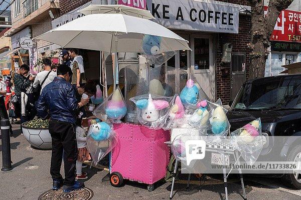 Cotton candy stall  Spring cherry blossom festival in Jinhei  Korea