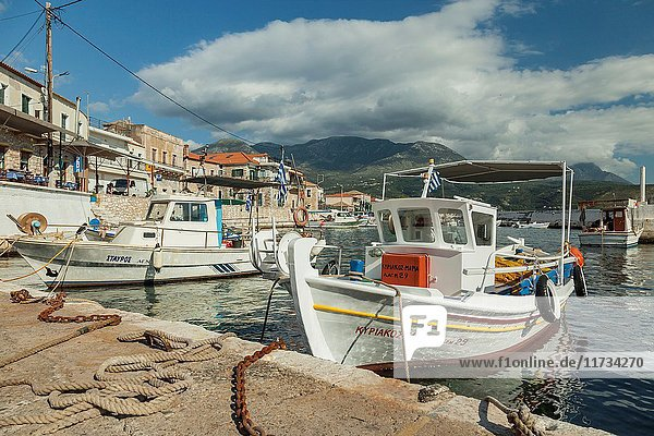 Marina in Agios Nikolaos seaside village in Messenia  Greece.