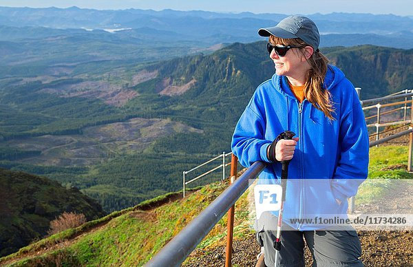 Hiker on summit viewpoint  Saddle Mountain State Park  Oregon.