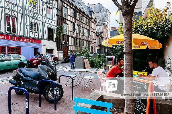 Beautiful square full of café terraces and traditional houses. Rouen  Normandy  France.
