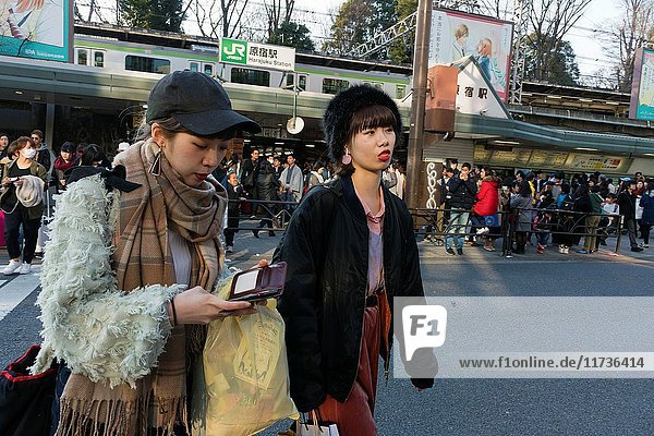 Urban tribes in The Harajuku district. Many of them wearing all kind of fashion styles from Gothic Lolitas to Decora or Cosplay.