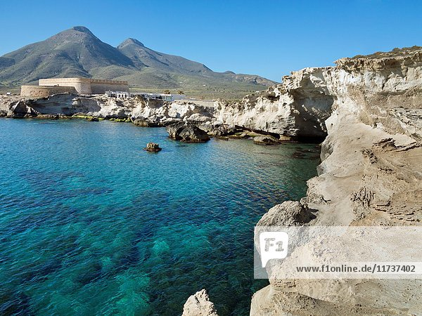 San Felipe Battery in Los Escullos. Cabo de Gata National Park. Almeria. Andalucia. Spain. Europe