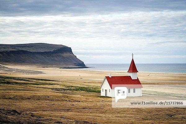 Iceland  Westfjords  Vestfirdir region  church of Breidavik