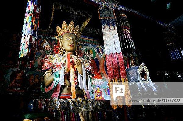 India  Jammu and Kashmir  Ladakh  Nubra valley  Buddhist monastery of Samstanling in Sumur  statue of Buddha