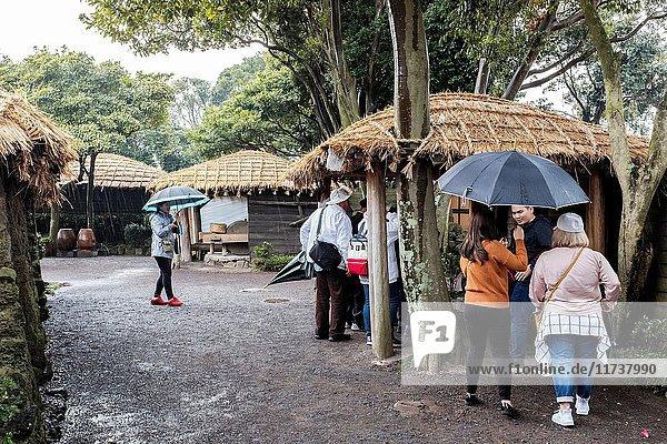 Tourists at Folk Village  Jeju Island  Korea