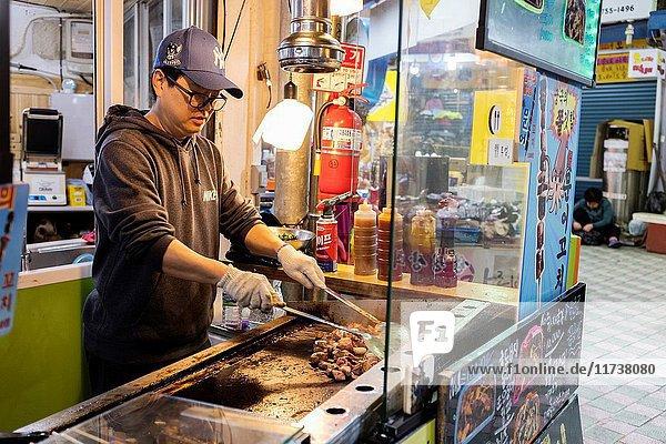 Food stall in Jeju Dongmun market  Korea