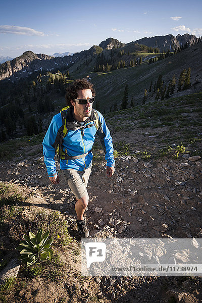 Hiker on Sunset Peak trail  Catherine's Pass  Wasatch Mountains  Utah  USA