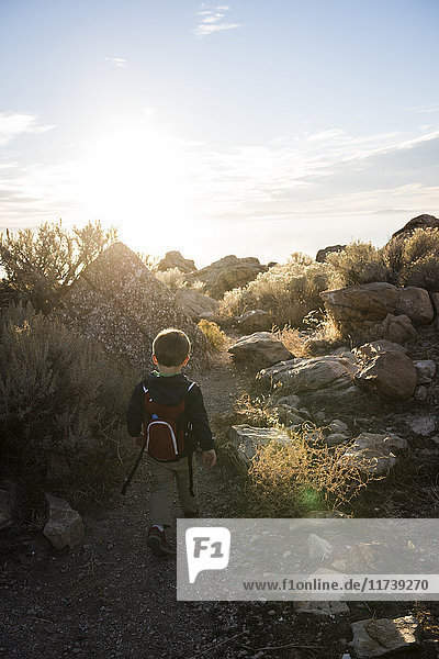 Kleinkinderwandern  Buffalo Point Trail  Antelope Island State Park  Utah  USA