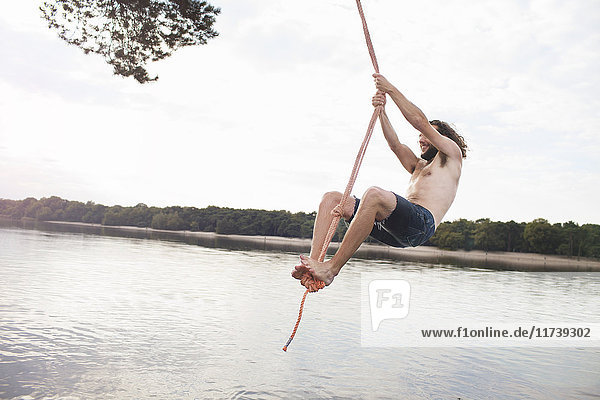 Young man rope swinging above lake