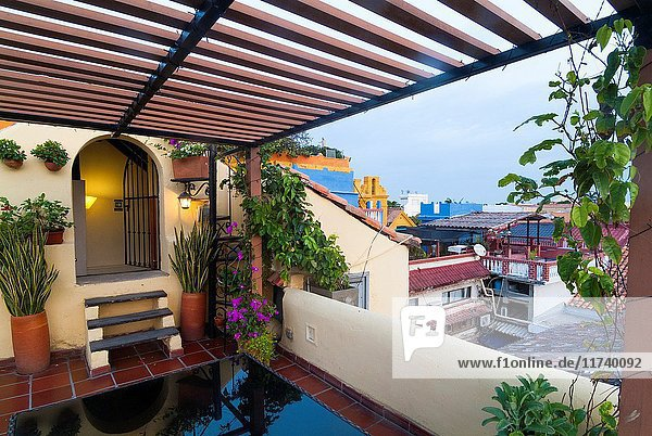 Roof top terrace at a hotel in the old city of Cartagena  Colombia  South America.