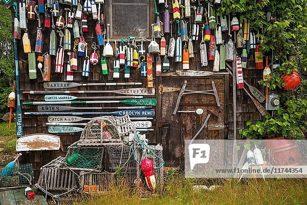 USA  Massachusetts  Cape Ann  Lanesville  small house covered in lobster traps.