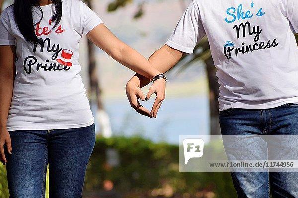 Couple holding hands  Pune  Maharashtra.