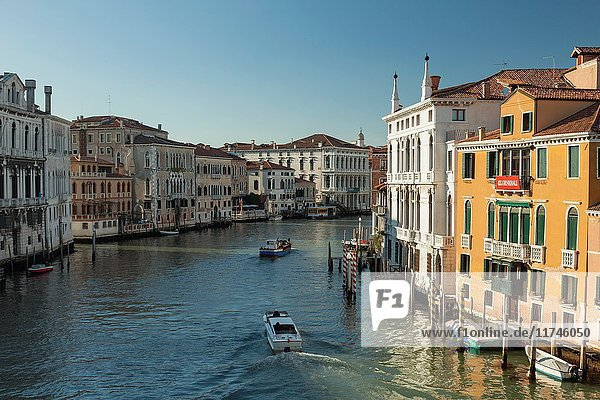 Spring afternoon on Grand Canal in Venice  Italy.