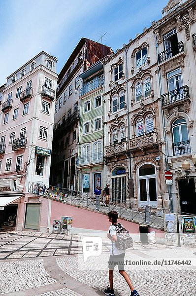 Beautiful building exteriors in Pedestrian shopping area on R. Visc. da Luz near May 8th square  Coimbra  Portugal.
