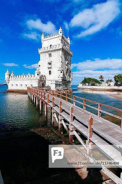 The iconic Tower of Belém on the bank of the Tagus River  Lisbon  Portugal.