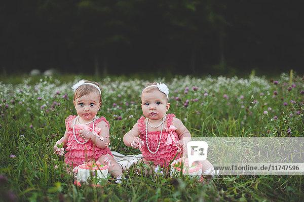 Portrait of baby twin sisters sitting in wildflower meadow eating birthday cake