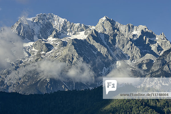 Snow capped peaks of Jade Dragon Snow Mountain  Lijiang  Yunnan  China