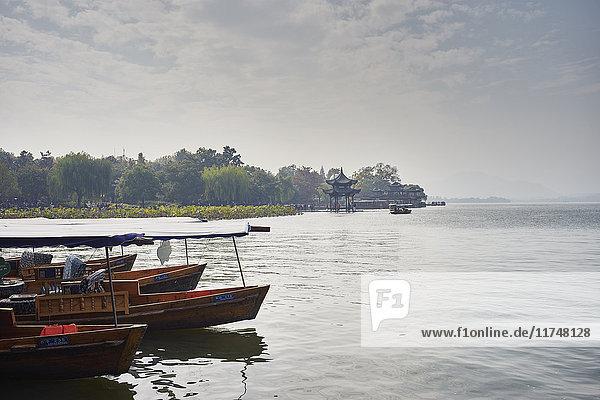 Moored fishing boats on Westlake  Hangzhou  China