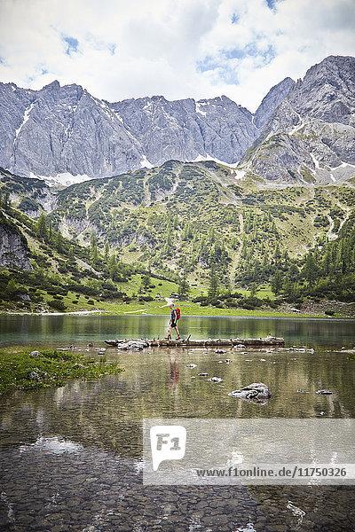 Junge erkundet See  Ehrwald  Tirol  Österreich