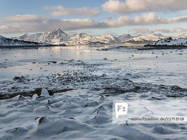 Landscape near Leknes  island Vestvagoy. The Lofoten islands in northern Norway during winter. Europe  Scandinavia  Norway  February.