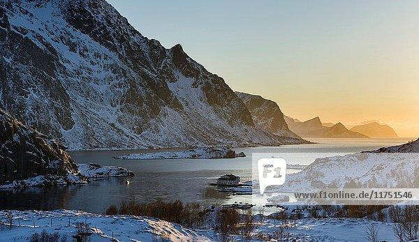 Fjord Maervollspollen and village Maervoll  island Vestvagoy. The Lofoten islands in northern Norway during winter. Europe  Scandinavia  Norway  February.