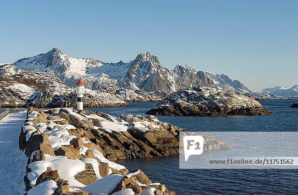 Small town Kabelvag  island Austvagoya. The Lofoten islands in northern Norway during winter. Europe  Scandinavia  Norway  February.
