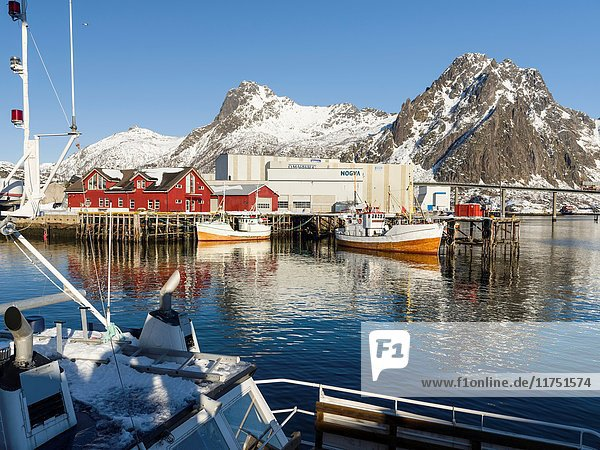 The harbour in the town of Svolvaer   island Austvagoya. The Lofoten islands in northern Norway during winter. Europe  Scandinavia  Norway  February.