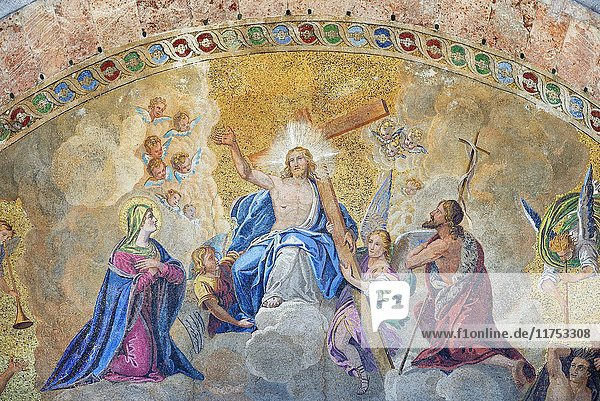 Italy  Veneto  Venice  listed as World Heritage by UNESCO  Saint Mark's basilica (Basilica di San Marco)  religious mosaic on the outside wall