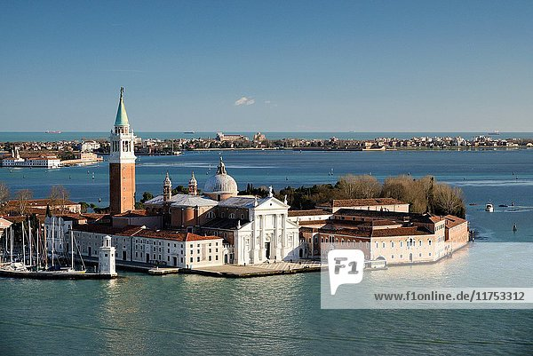 Italy  Veneto  Venice  listed as World Heritage by UNESCO  the island of San Giorgio Maggiore with the basilica and monastery  seen from Saint Mark's Campanile