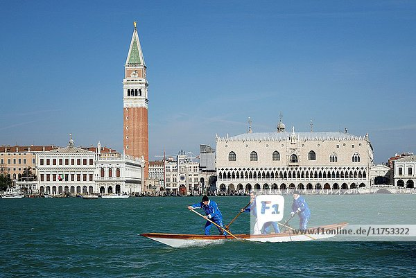 Italy  Veneto  Venice  listed as World Heritage by UNESCO  Saint Mark's Square (Piazza San Marco)  Doge's Palace (Palazzo Ducale) and Campanile bell tower  training of rowers for the Regata Storica