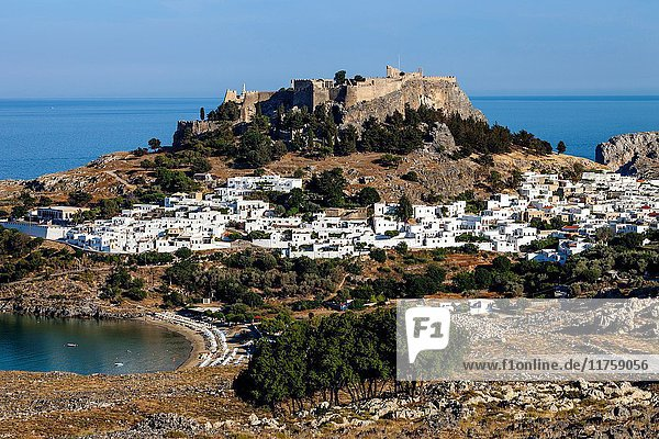 Elevated Views Of The Town Of Lindos  Rhodes  Greece.