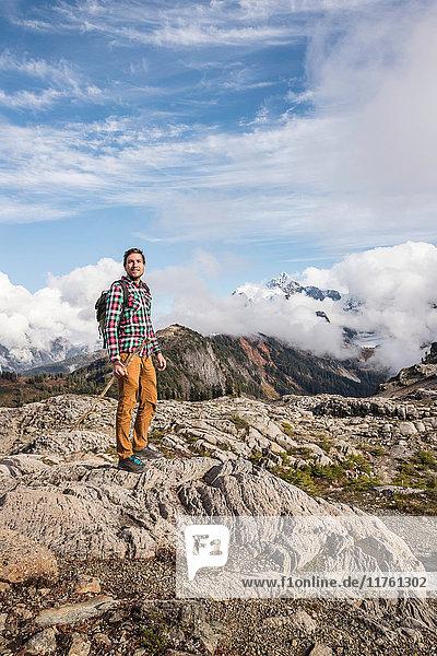 Hiker on Mount Baker  Washington  USA