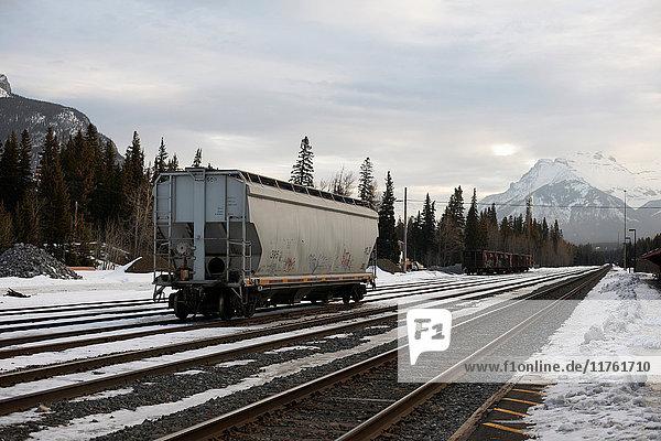 Güterzugwagen auf Eisenbahnschienen  Banff  Kanada