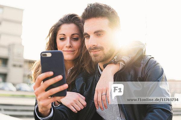 Paar  das Selfie nimmt  Florenz  Italien