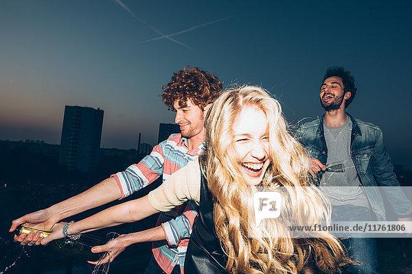 Gruppe von Freunden genießt Dachparty