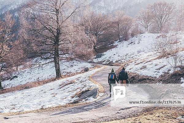 Rückansicht eines Wanderpaares  das auf einer verschneiten Landstraße wandert  Monte San Primo  Italien