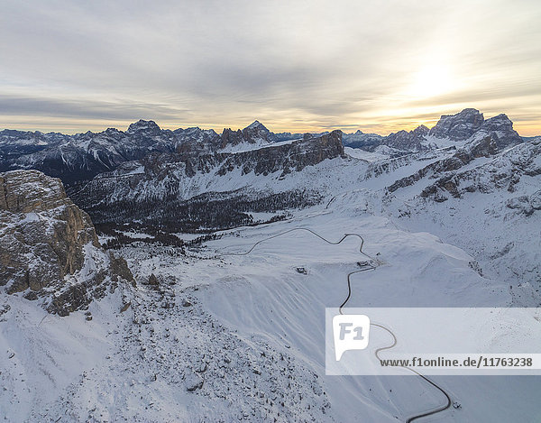 Aerial view of the snowy peaks of Giau Pass  Cortina d'Ampezzo  Dolomites  Province of Belluno  Veneto  Italy  Europe
