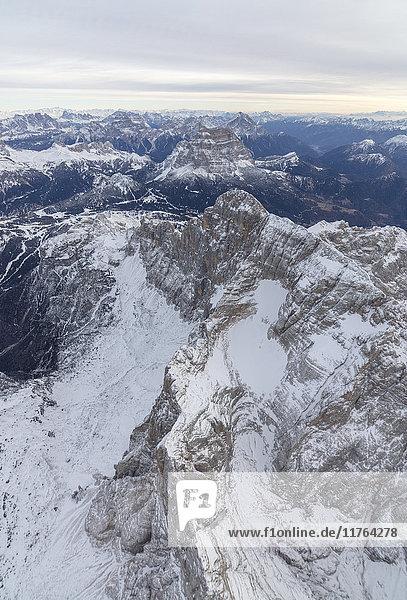 Aerial view of the rocky peaks of Monte Civetta  Ampezzo  Dolomites  Province of Belluno  Veneto  Italy  Europe