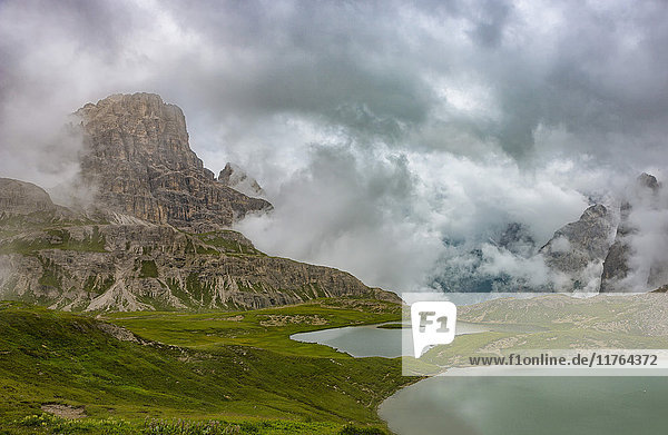 Piani lakes and Scarpieri peak on a foggy and cloudy day  Dolomites  Alto Adige district  Italy  Europe