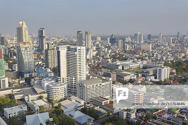 Elevated view of city skyline  Bangkok  Thailand  Southeast Asia  Asia