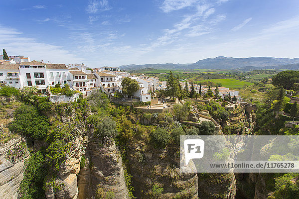 View of Ronda and Andalusian countryside from Puente Nuevo  Ronda  Andalusia  Spain  Europe